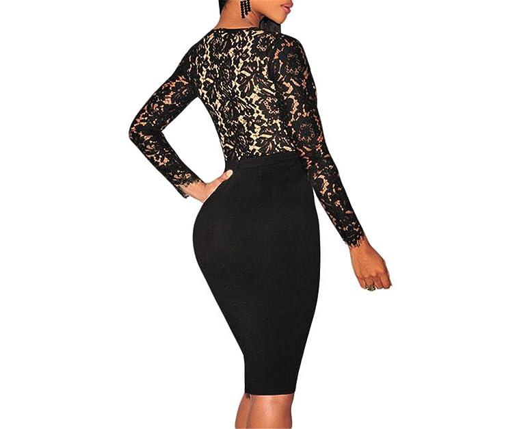 Amazon.com: Eloise Isabel Fashion Mulheres Outono Black Lace Illusion Nudez Mangas Compridas Bodycon Midi Vestido de Festa vestido de invierno mujer ...