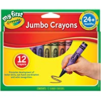 Crayola My First Jumbo Size Crayons, 12 Pack, Early Development, 2 Years +, Toddler, Art, pre-School, prep, Kindergarten, Safe and Non Toxic