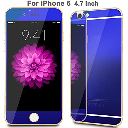 utlk iphone 6 screen protector tempered glass with electroplating mirror effect blue utlk amazoncom tempered glass