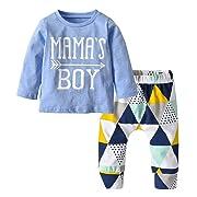 Baby Boys Mama's Boy Long Sleeve T-Shirt Tops Geometric Pants Clothes Set (70(6-9 Months))