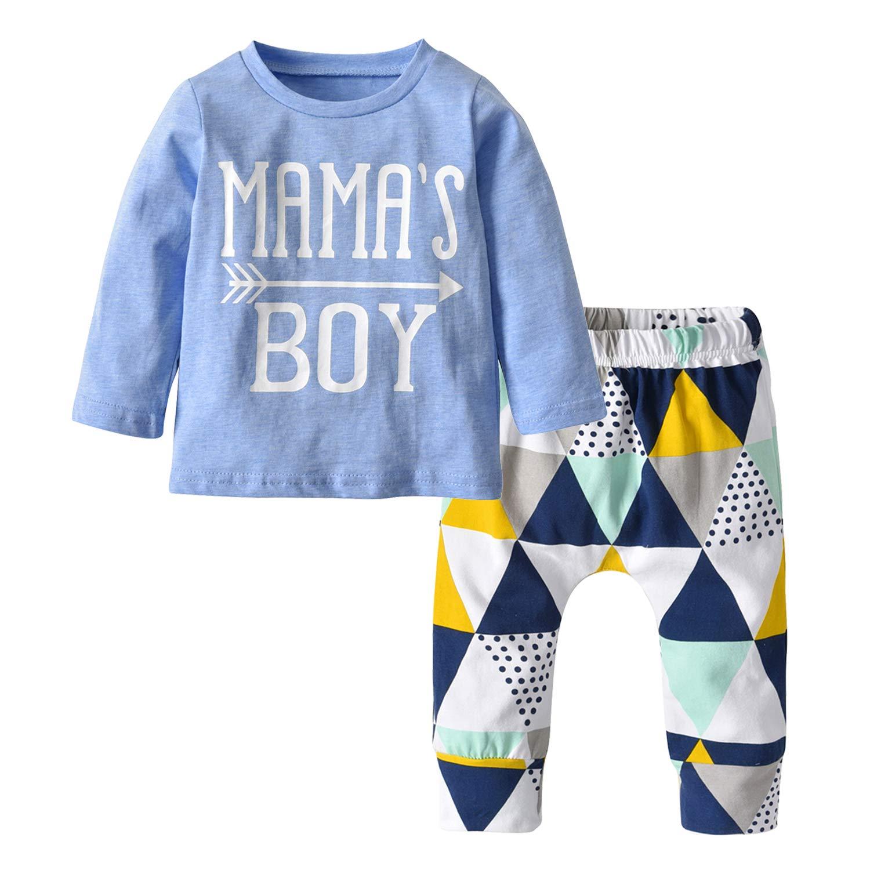 Baby Boys Mama's Boy Long Sleeve T-Shirt Tops Geometric Pants Clothes Set (80(9-12 Months))