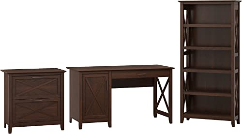 Bush Furniture Key West 54W Computer Desk with Storage, 2 Drawer Lateral File Cabinet and 5 Shelf Bookcase in Bing Cherry