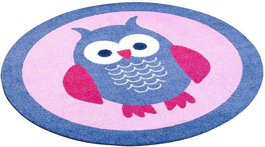 Zala Living Velours Kinder Eule Blau Rosa 100 cm Kinderteppich Teppich rund Kinderzimmer Polyamid 100 x 100 x 0,7 cm