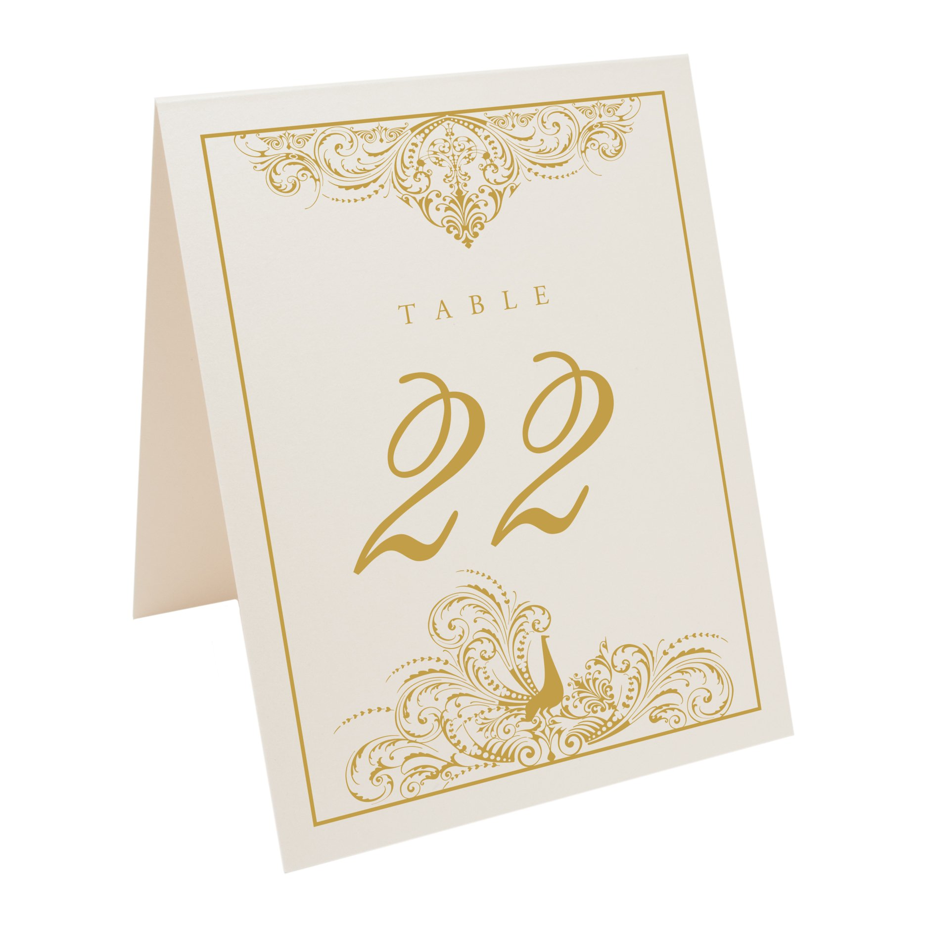 Documents and Designs Peacock Flourish Table Numbers (Select Color/Quantity), Champagne, Gold, 1-40