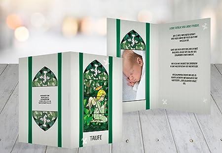 Christening Card Stained Glass Window dark green 5 Karten & Christening Card Stained Glass Window dark green 5 Karten: Amazon ...