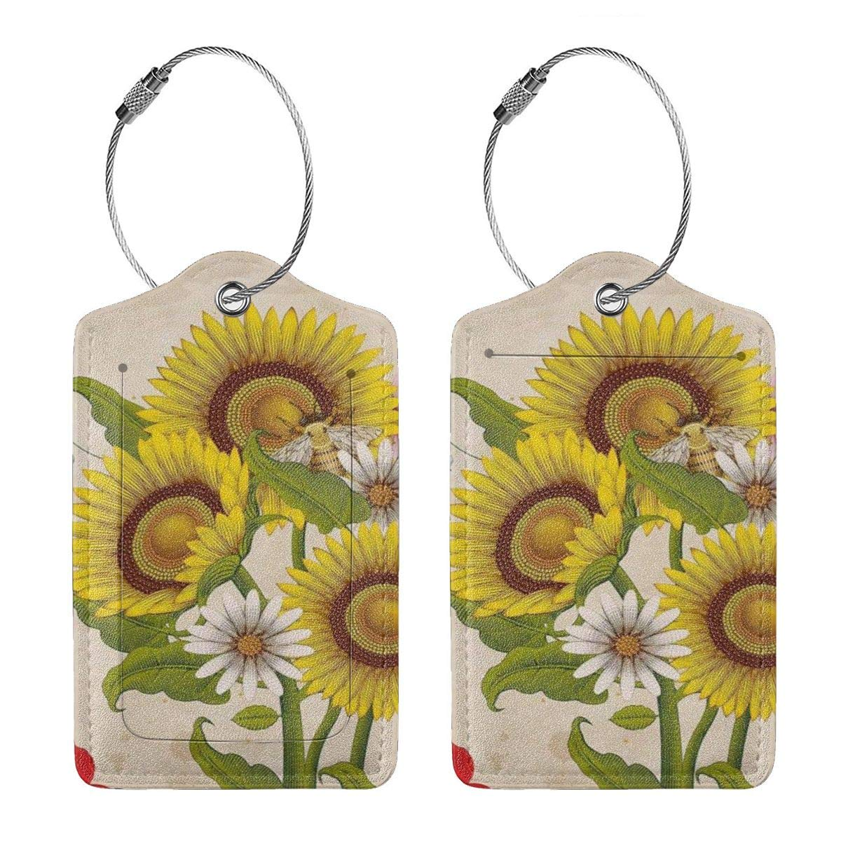 Honey Bees Wildflowers Sunflowers Leather Luggage Tags Personalized Extra Address Cards With Adjustable Strap