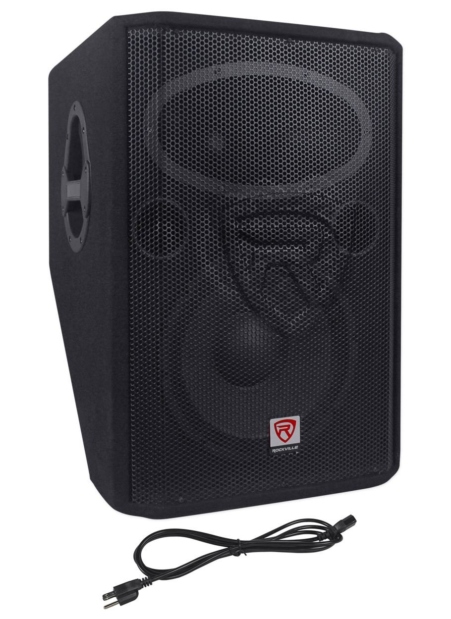 Rockville 1000 Watt 2-Way Powered Active Stage Floor Monitor Speaker, black, 12 inch (RSM12A) by Rockville