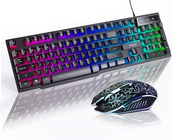 MTK - Juego de Teclado y ratón para Juegos, ratón óptico 4D, Teclado y ratón retroiluminado, Teclado con Cable USB, Rainbow LED Brillante, Plug & ...