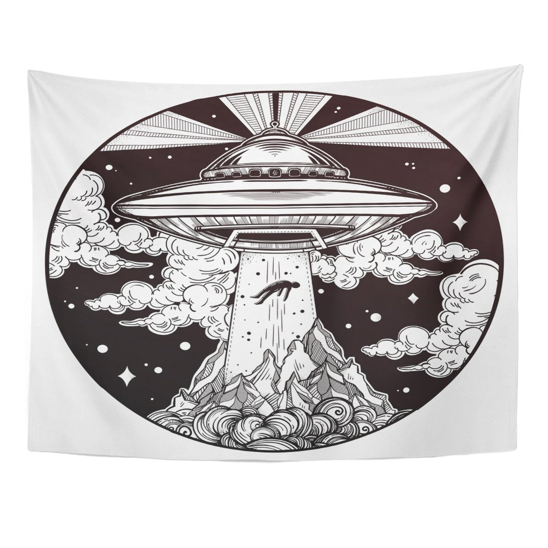 Emvency Tapestry Black Extraterrestrial Alien Spaceship UFO with Flying Saucer Abducting Human Conspiracy Theory Tattoo Home Decor Wall Hanging for Living Room Bedroom Dorm 60x80 inches