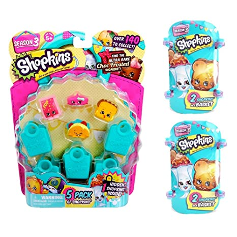 Amazon Com Shopkins Season 3 Bundle 5 Pack 2 Baskets Toys Games