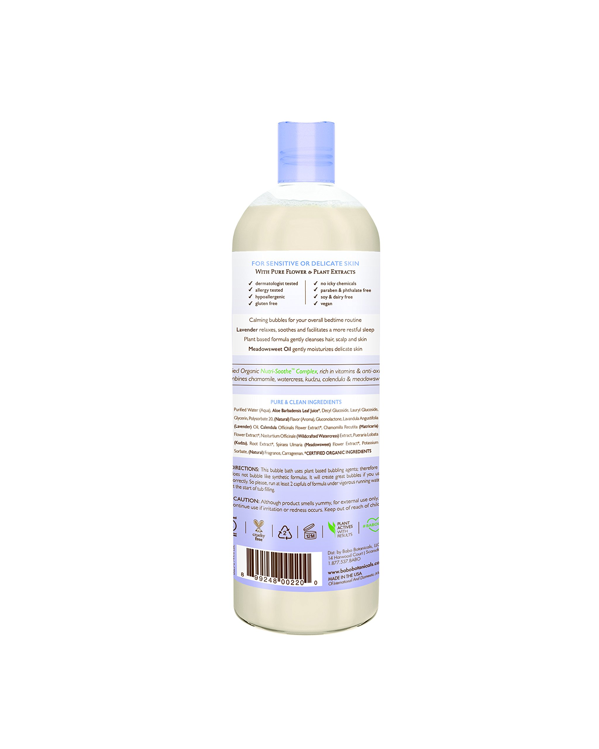 Babo Botanicals Lavender Meadowsweet Calming Baby Bubble Bath & Wash, 15 ounces by Babo Botanicals (Image #3)