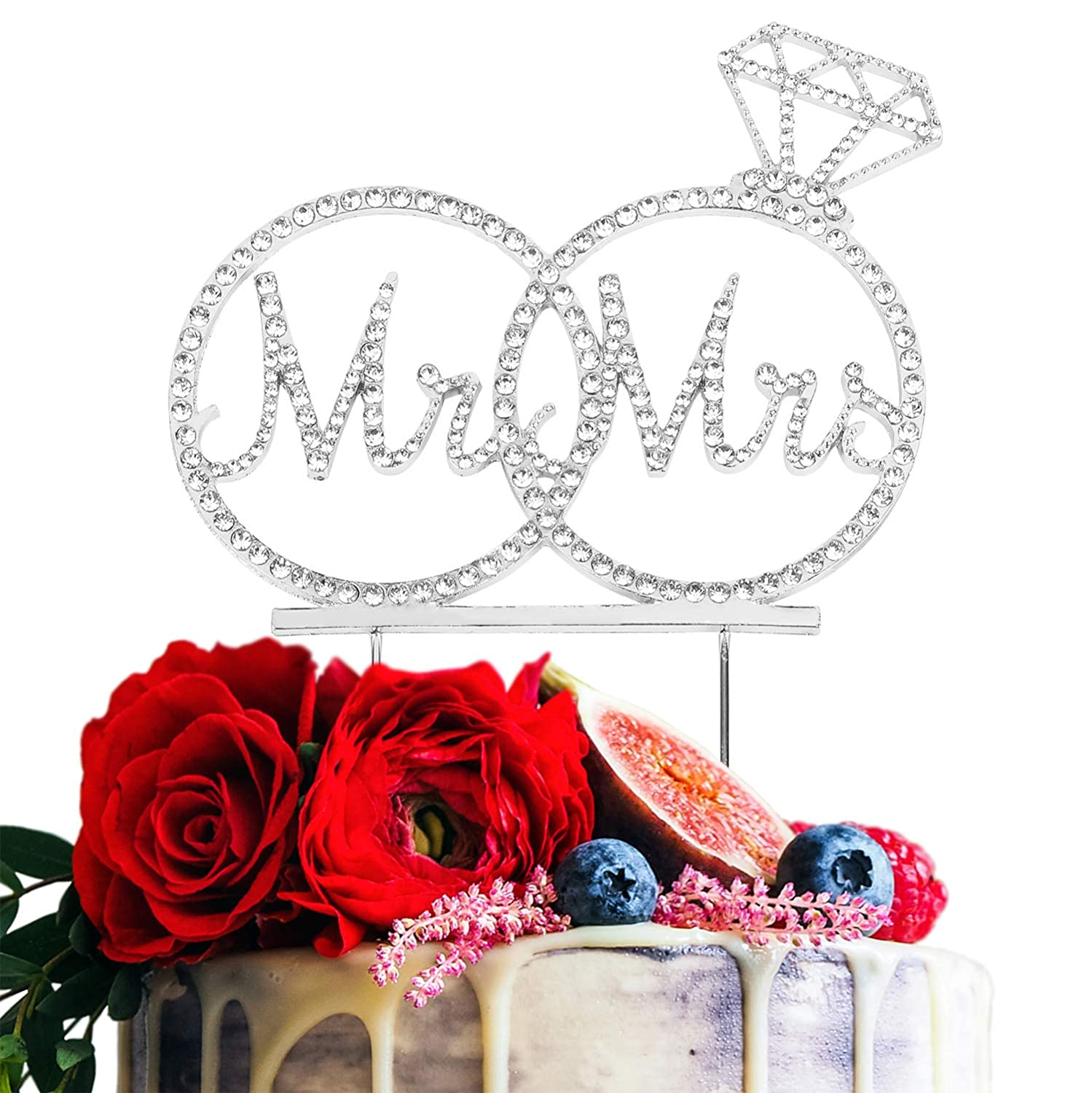 Mr /& Mrs Cake Topper For Wedding Anniversary Rings Crystal Rhinestone Party Decoration Gold