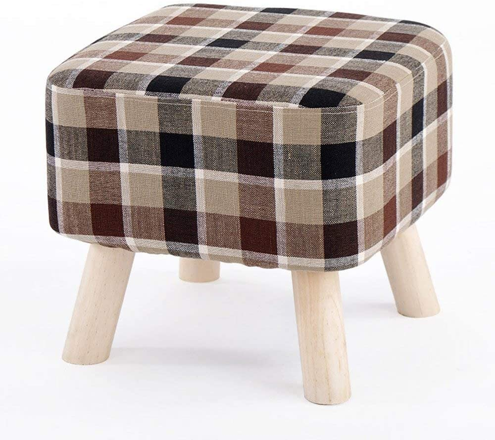 Qtqz Brisk- Shoe Stool Switch Sofa Stool Solid Wood Stool Cloth Footstool Carrying Shoe Stool Simple Modern lange Bett Stool (5 Colors Available) (Color: 2)