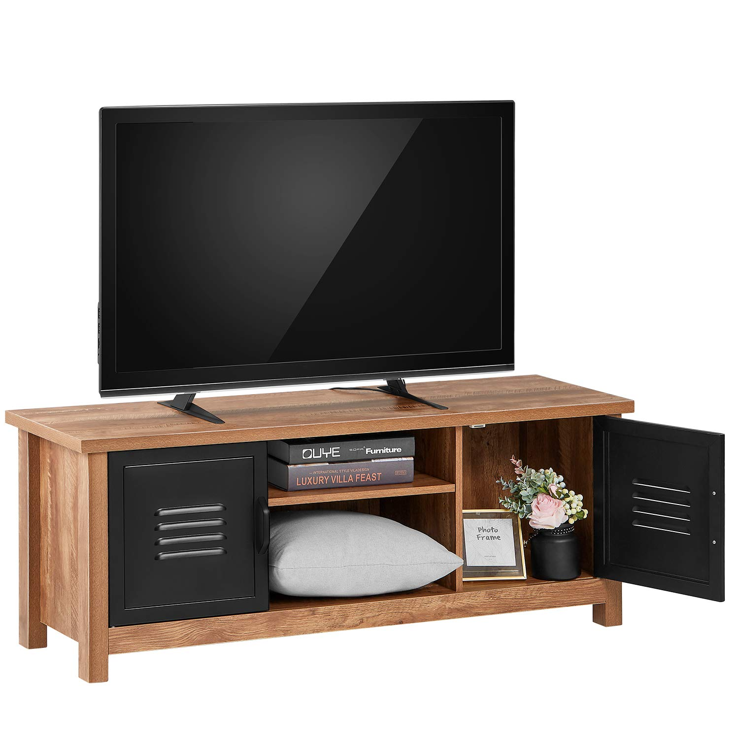 kealive TV Stand Wood Media Console for TV up to 50'' Modern Rustic Entertainment Center, Solid Carbon Steel Cabinet Doors and 2 Shelf Storage Video Gaming Consoles Home Furniture Living Room, Oak by kealive