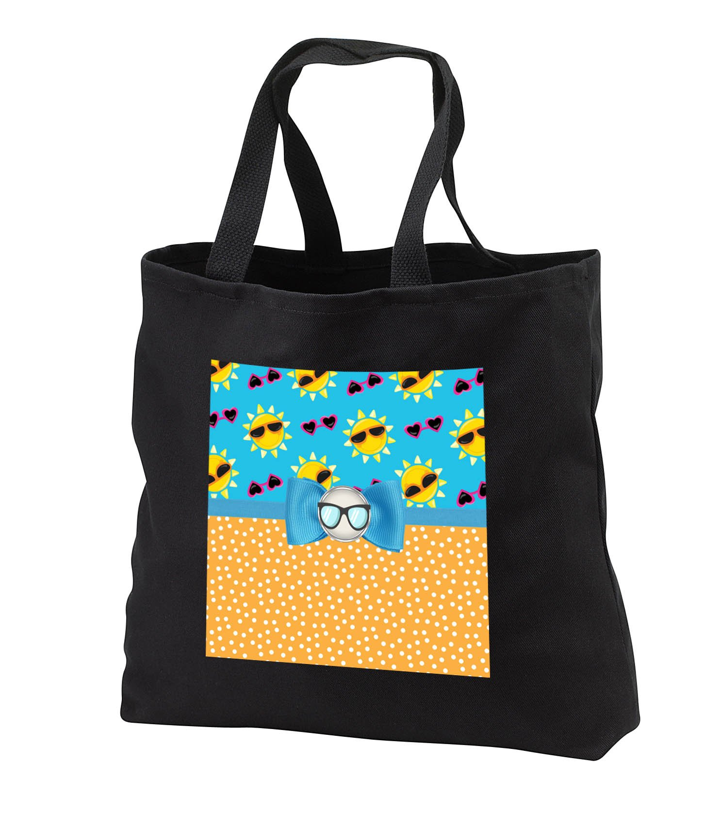 Anne Marie Baugh - Designs - Cute Suns and Sun Glasses Over Polka Dots With Digital Bow - Tote Bags - Black Tote Bag JUMBO 20w x 15h x 5d (tb_282882_3)