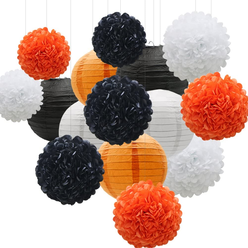 KAXIXI Hanging Party Decorations Set, 15pcs Orange Black White Paper Flowers Pom Poms Balls and Paper Lanterns for Wedding Birthday Bridal Baby Shower Graduation