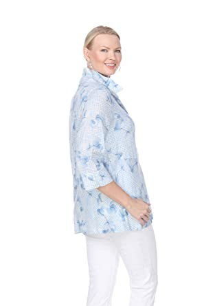df3cf2ceefe Terra-Sj Apparel Women s T4089L-3 4 Sleeve Blouse with Convertible Collar  at Amazon Women s Clothing store