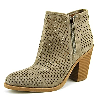 Women's Kay Laser Cutout Almond Toe Stacked Chunky Heel Ankle Bootie