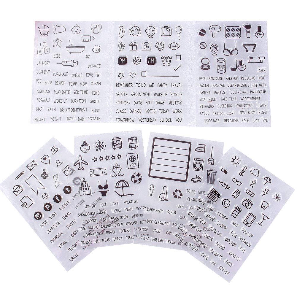 Yapthes timbro di gomma English Dairy immagine segno trasparente timbro Seal DIY album scrapbooking decorazione, Rain Tools/decorazioni