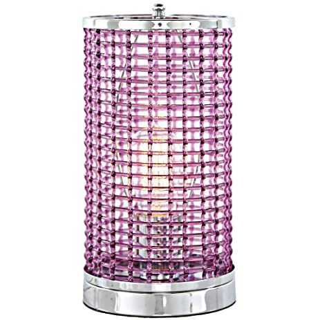 River of goods 15253 acrylic caged uplight accent lamp with chrome base purple