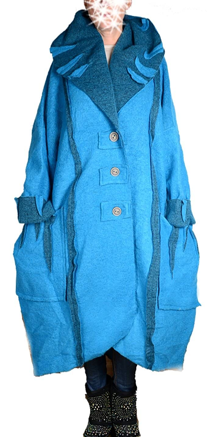 Damen Wolle Lagenlook Ballon Wintermantel Mantel Swinger lang XXL 3XL 4XL  5XL 6XL Türkis Blau Übergang Winter (5XL)  Amazon.de  Bekleidung c4551ce206