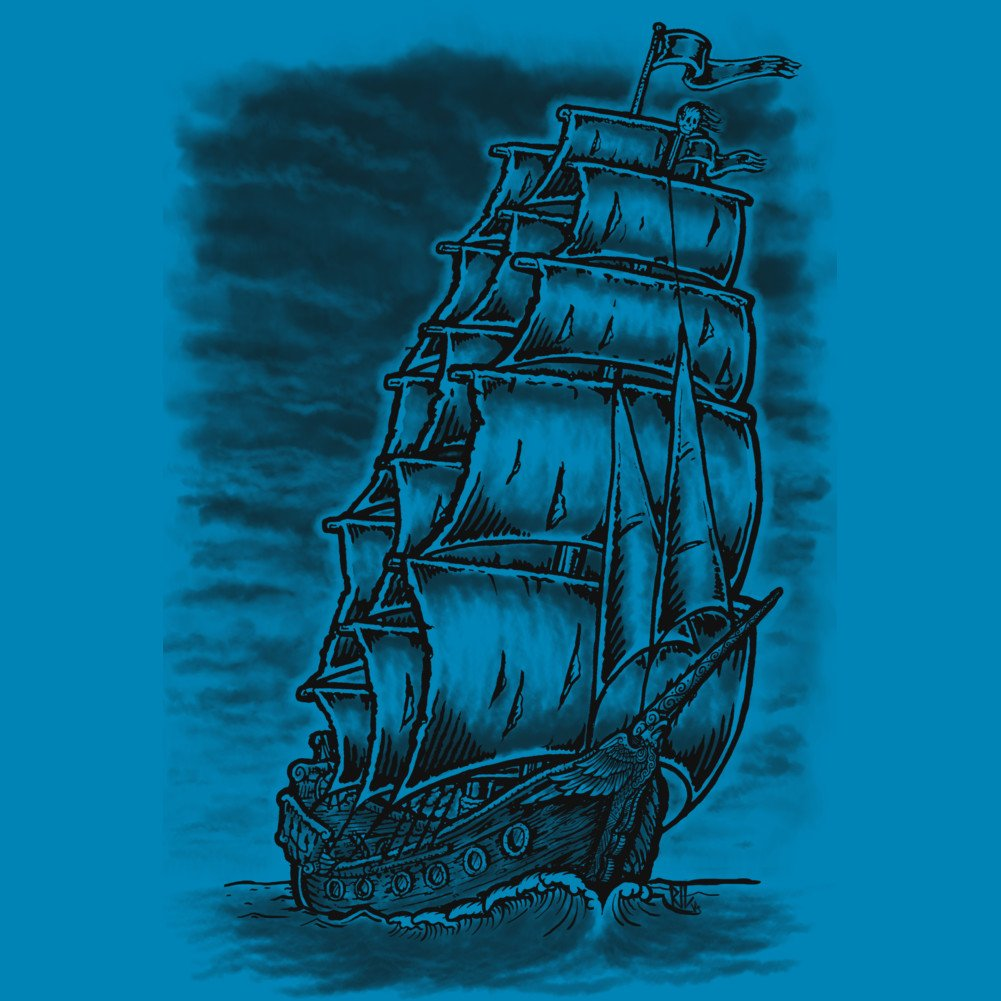 Design By Humans Caleuche Ghost Pirate Ship Blackline Boys Youth Graphic T Shirt