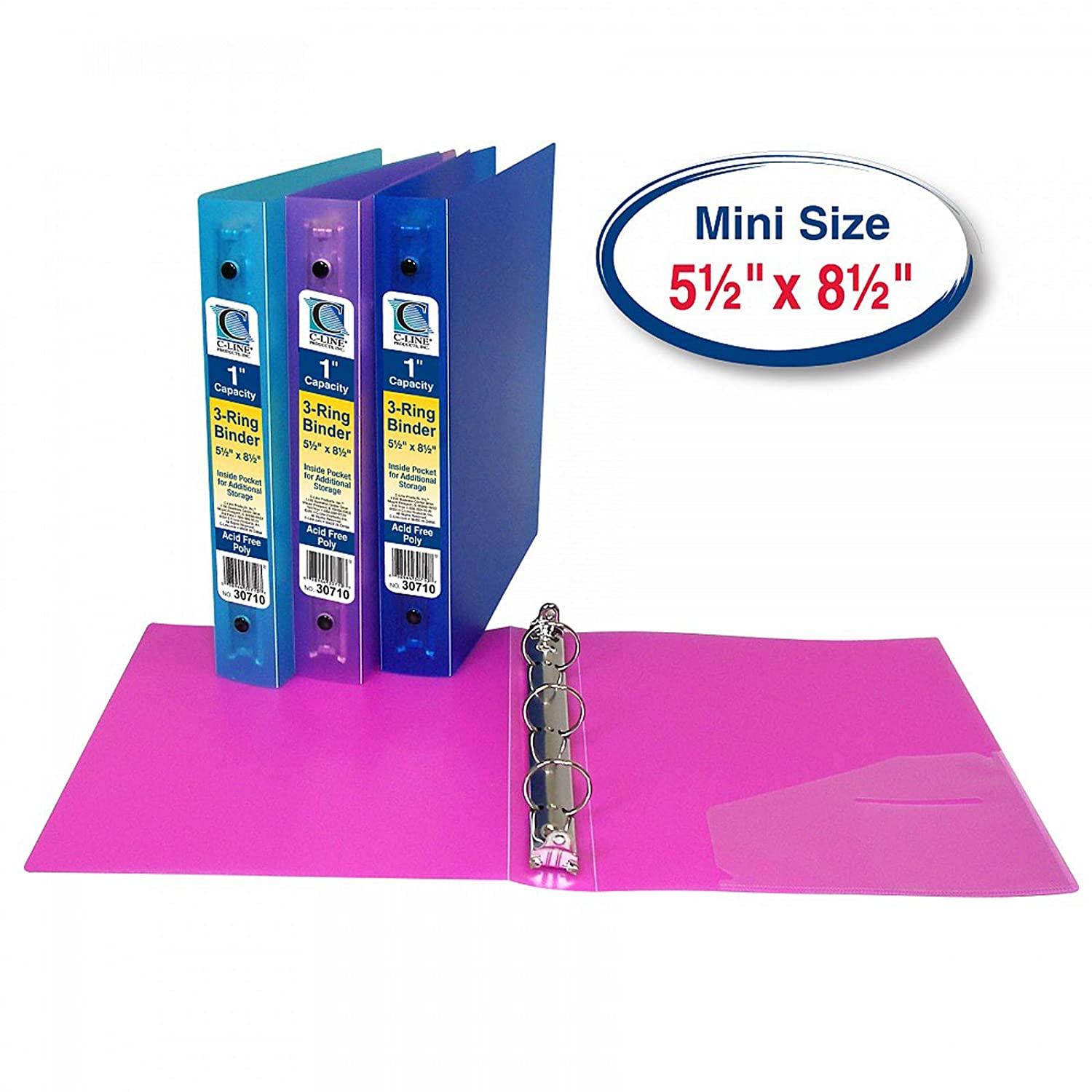 Assorted 1 Inch Capacity Inc Pack of 6 CLI30710BN Mini Size 3-Ring Poly Binder C-Line Products