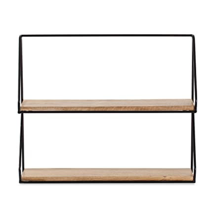 Madeleine Home Lugo 2-Tier Wall Mounted Floating Shelf | Black Powder Coated Accent Display Storage Ledge with Metal Frame | Hand Made Decor Shelf for ...