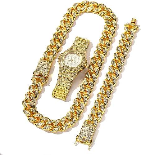 Crystally Conjunto de Pulsera de Cadena Cubana para Hombres Pulsera y Reloj de Cadena Cubana para Hombre Conjunto de Joyas de Hip Hop Pulsera de Cadena para Regalo de Hombre (Oro): Amazon.es: