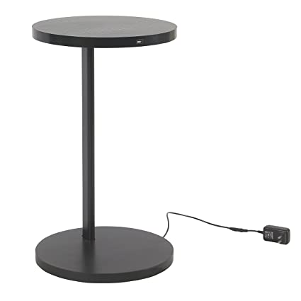 Amazoncom Spatial Order Round Charging Accent Table Usb Black