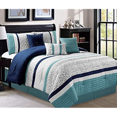 JBFF 21178 Q Oversize Luxury Stripe (7 Piece) Bed in Bag Microfiber Comforter Set, Queen,Blue