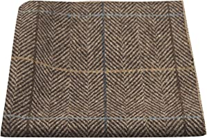 Luxury Walnut Brown Tweed Pocket Square, Handkerchief