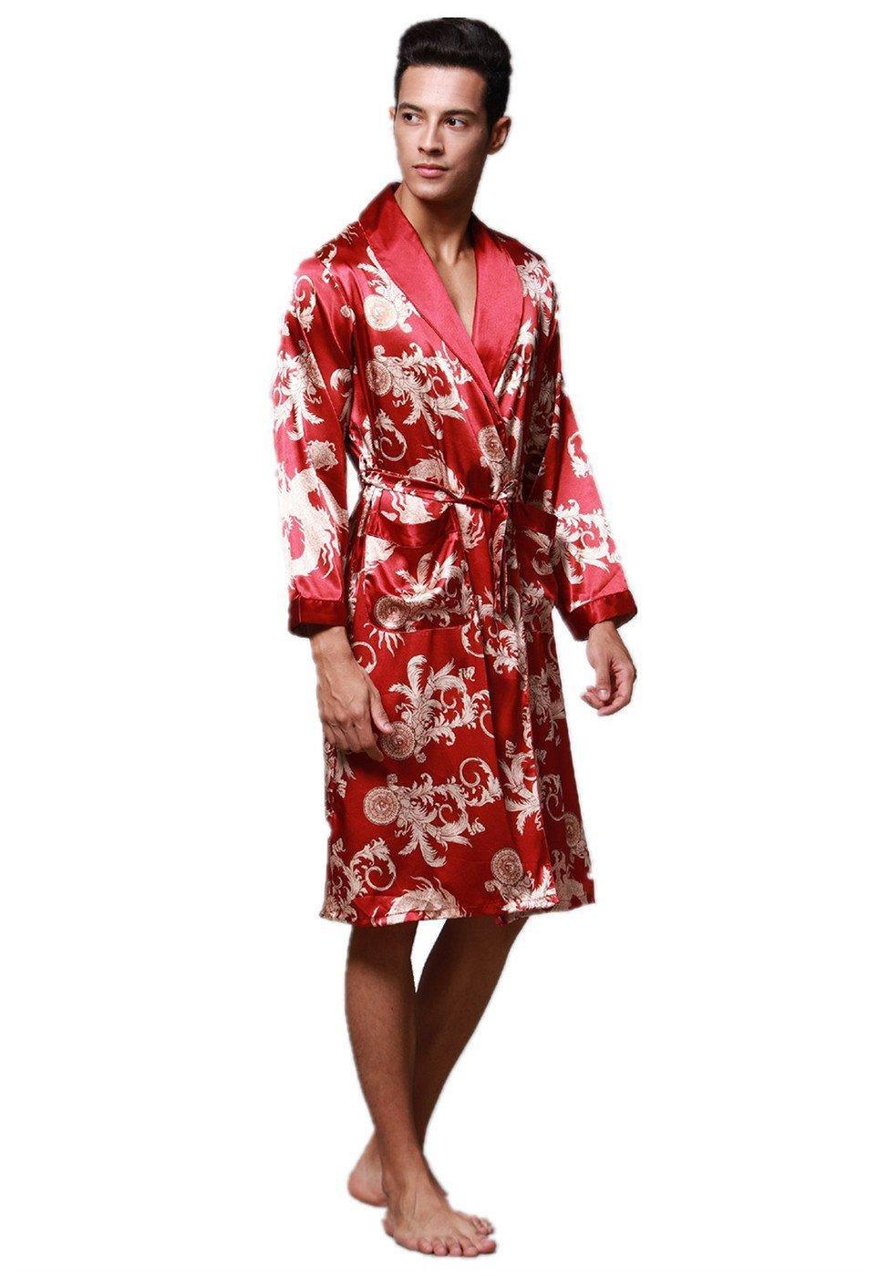 Albornoz Pijama Camisón Robe Bata Ropa de Dormir para Hombre Satín Satín Hombre , 002 , L 3e7ab1