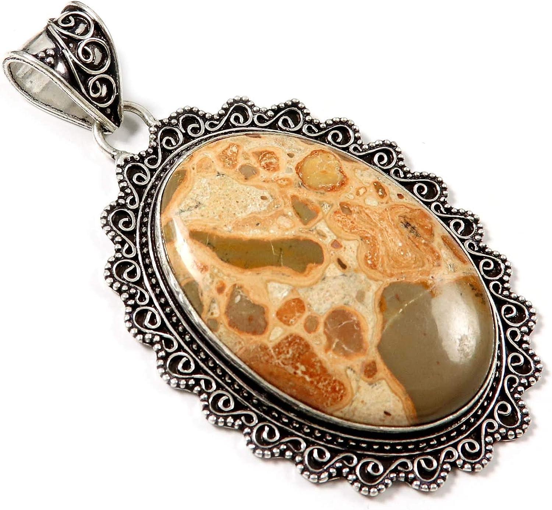 Goyal Crafts GPAF01 - Colgante de jaspe de leopardita bañado en plata con gema natural
