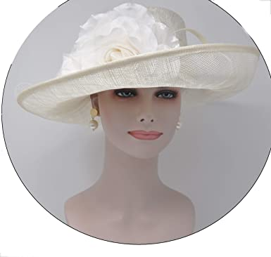 15f265b65547b Large Wide Brimmed Sinamay Hat Swirl Detail with Satin Flowers Kentucky  Derby Hat