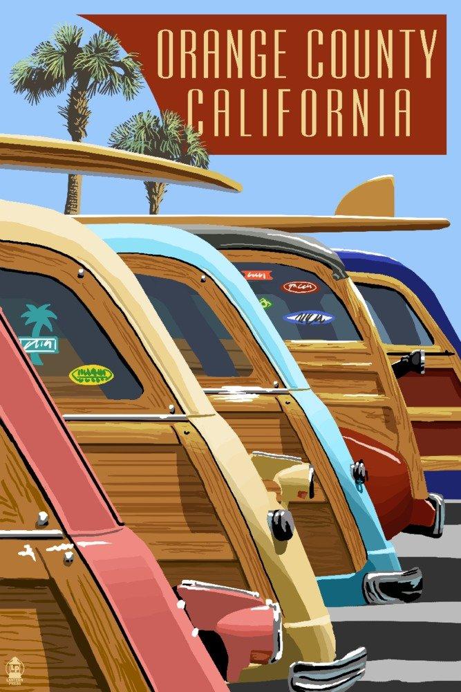 カリフォルニア州オレンジ郡 – Woodies Lined Up 9 x 12 Art Print LANT-43467-9x12 B00N5CCK8K  9 x 12 Art Print