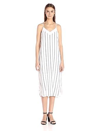 Equipment Women's Dian Stripe Slip Dress, Bright White/Eclipse, S