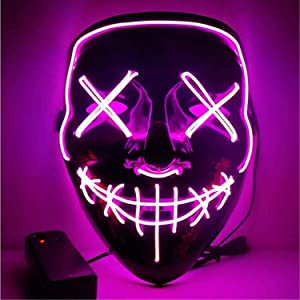 Moonideal Halloween Light Up Mask EL Wire Scary Mask for Halloween Festival Party Sound Induction Twinkling with Music Speed (Pink)
