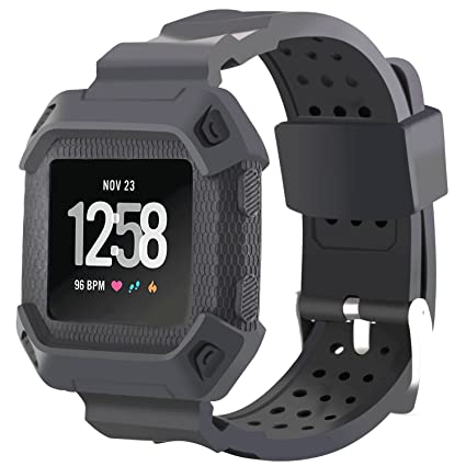 Moretek for Fitbit Versa Case with Bands, Shock-Proof Shatter-Resistant  Rugged Protective Cover with Strap for Fitbit Versa Fitness Smart Watch