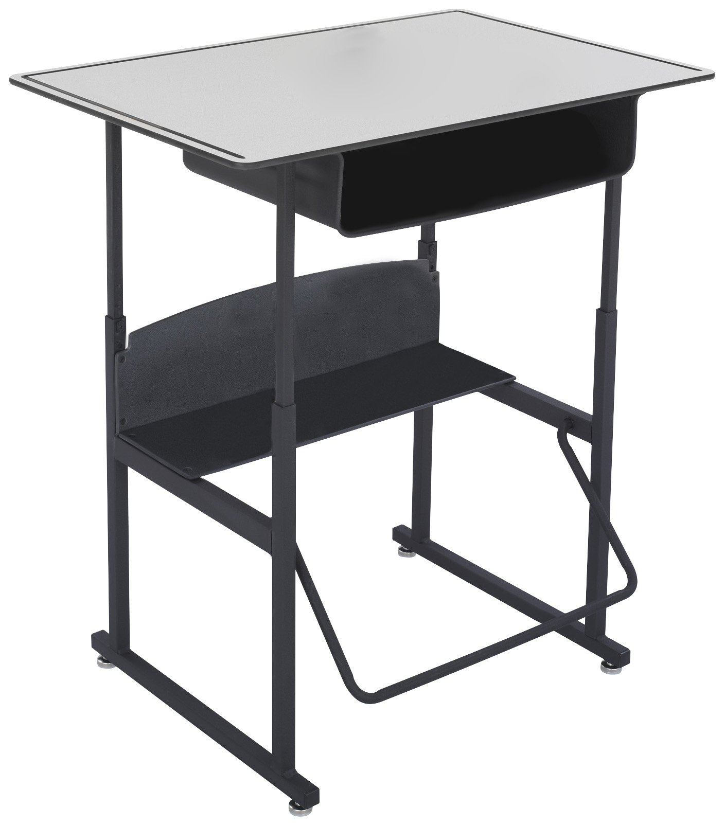 Safco Products 1209GR Alphabetter Stand-Up Desk with Swinging Footrest Bar, 36'' x 24'' Premium Top with Book Box, Black Frame/ Gray Top