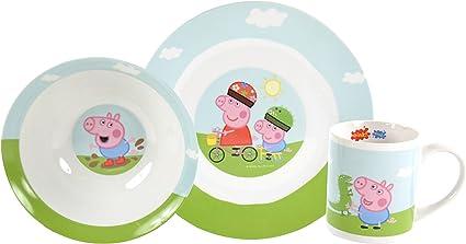 Peppa Pig - Set de desayuno porcelana (plato, bol y taza), diseño ...