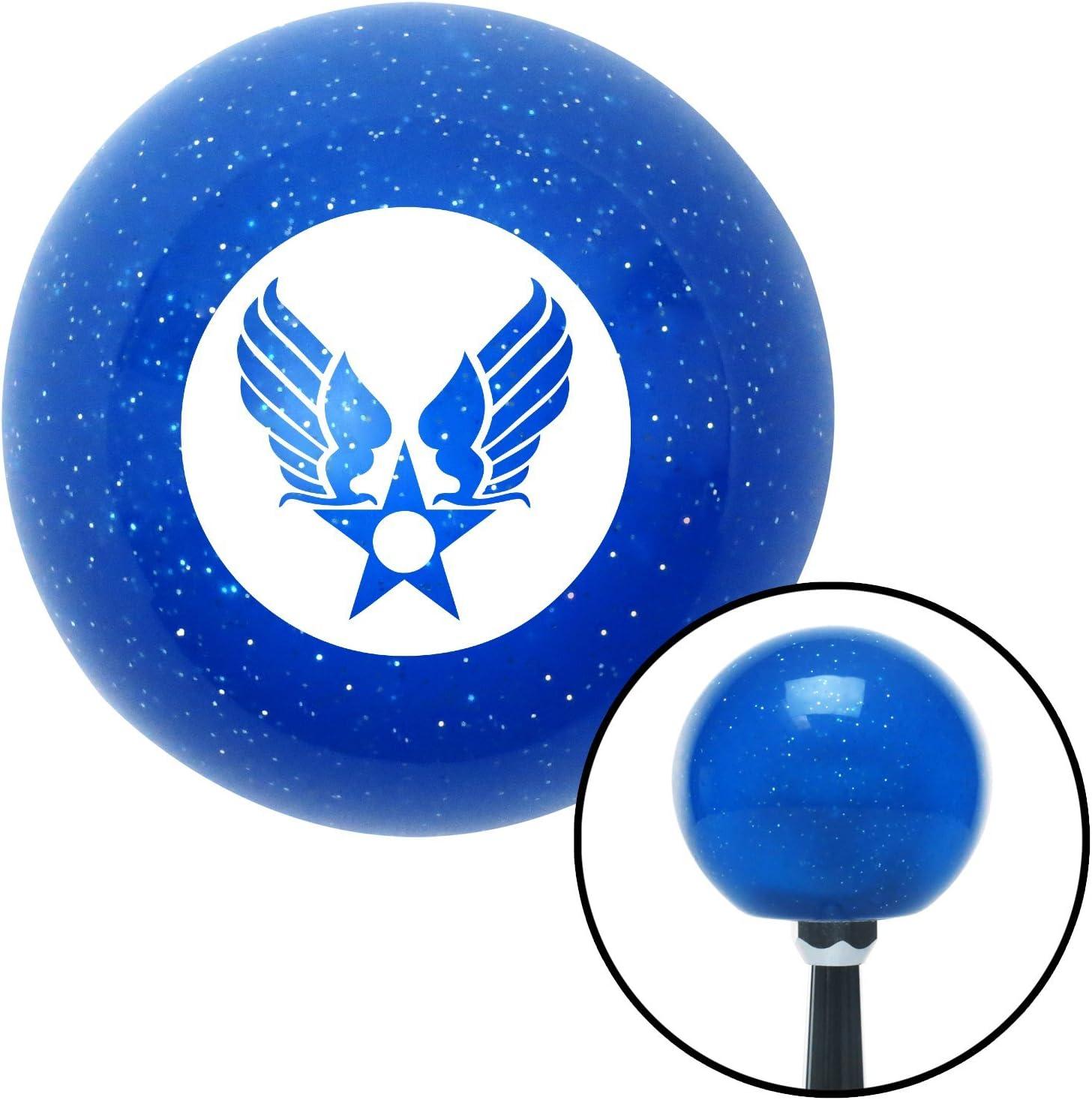 White Army Air Corps American Shifter 24570 Blue Metal Flake Shift Knob