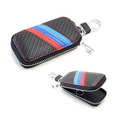 iJDMTOY (1 M-Colored Stripe Carbon Fiber Pattern Leather Key Holder Cover Wallet Compatible with BMW: Automotive