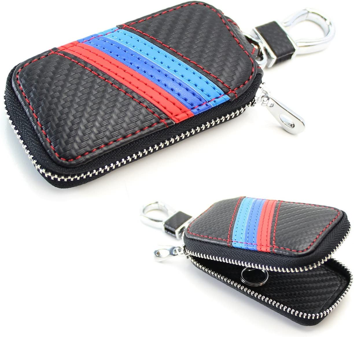 iJDMTOY (1 M-Colored Stripe Carbon Fiber Pattern Leather Key Holder Cover Wallet Compatible with BMW