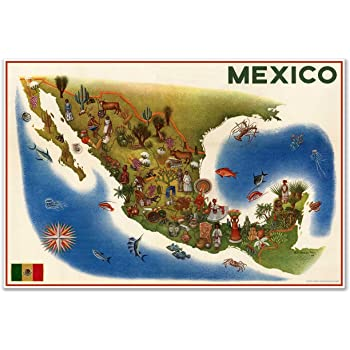 Mapa Pictorico de Mexico - Pictoral MAP of Mexico by Luis Covarrubias circa 1960 - measures 24