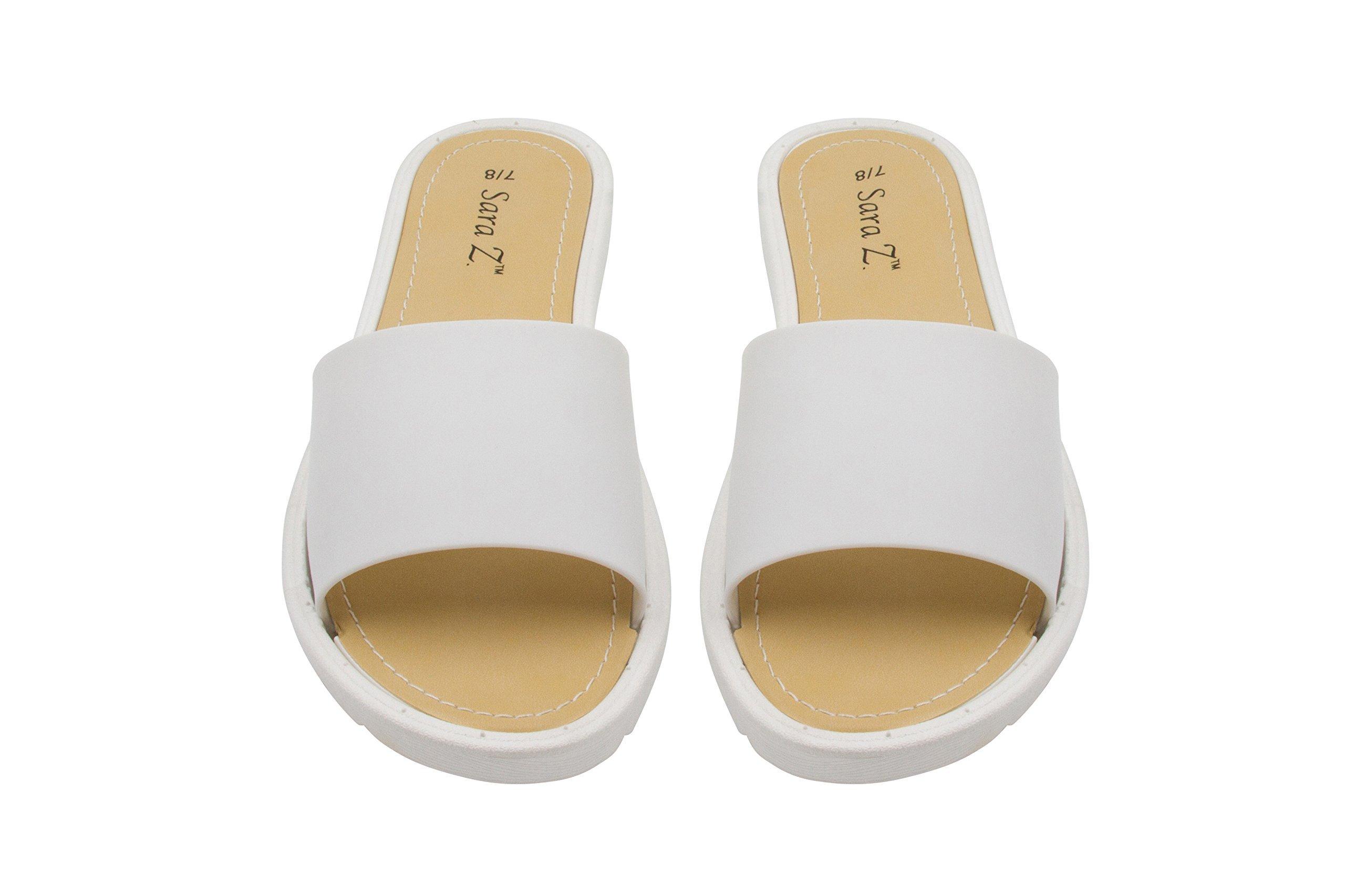 Sara Z Ladies Slip On PCU Sandal 7/8 White