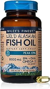Wiley's Finest Peak EPA DHA, 1000mg Omega-3s,NSF-Certified, Wild Alaska-Caught Fish Oil, 90 Softgels
