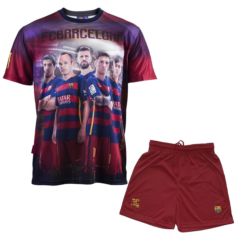 Conjunto camiseta + Short FC Barcelona - Messi Suárez Neymar piqué Iniesta - Colección oficial FC Barcelona - Talla de Niño Azul azul Talla:10 años: ...