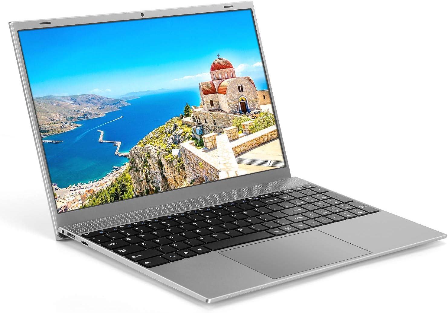 Laptop 15.6 inch Notebook Computer 8GB RAM 128GB SSD Intel Quad Core Full HD Display with WiFi Mini HDMI YELLYOUTH Windows 10 Laptop Grey