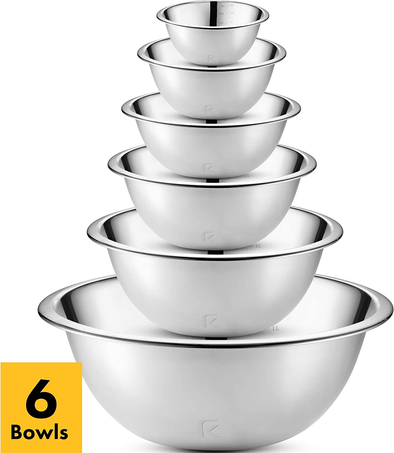 Klee 6-Piece Premium Stainless Steel Mixing Bowls with Measurements (Set of 6)